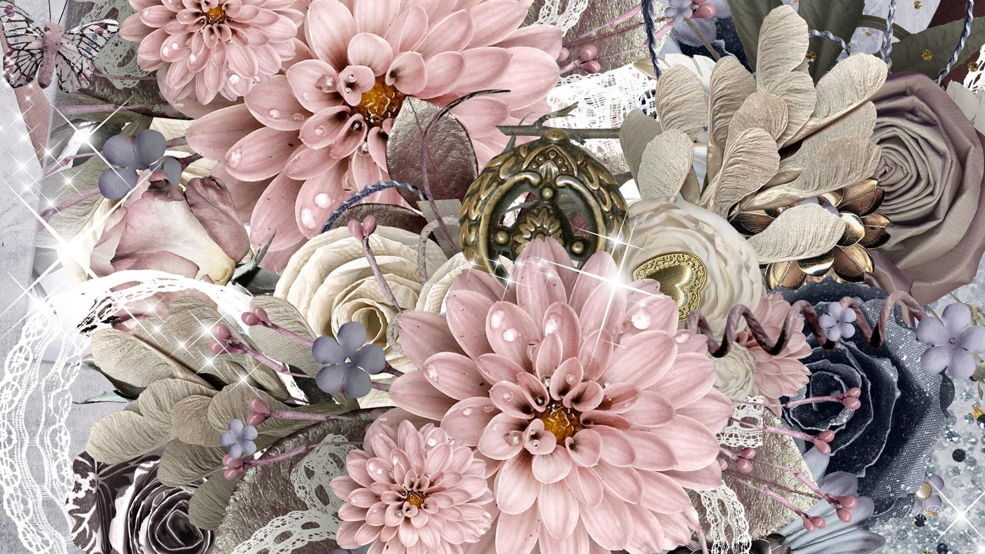 Обои для рабочего стола винтаж цветы