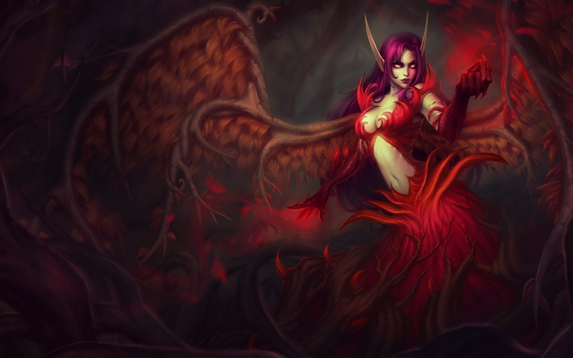 Video Game - League Of Legends  Fantasy Angel Demon Morgana (League Of Legends) Red Wings Horns Wallpaper