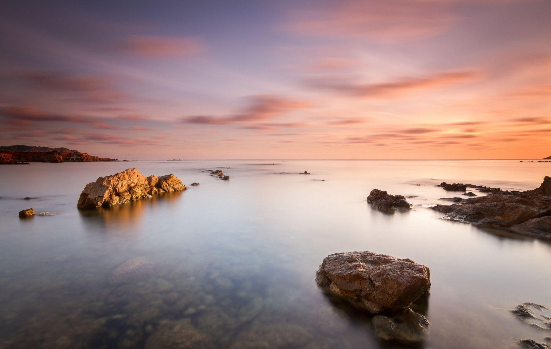 Earth - Ocean  Rock Sky Sunrise Horizon Wallpaper