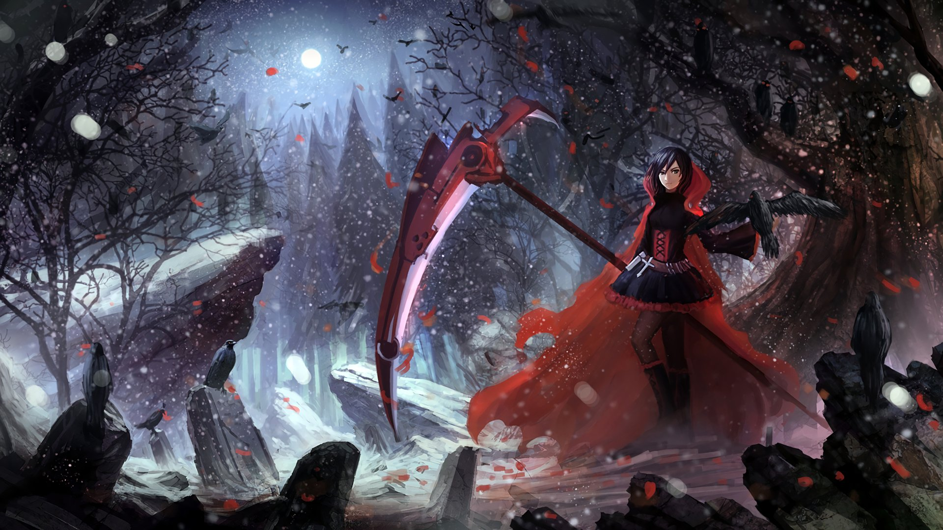 Anime - RWBY  Anime Red Ruby Rose (RWBY) Snow Dark Forest Night Raven Wallpaper