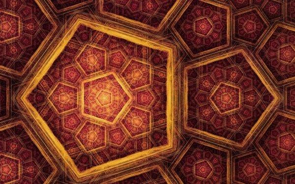 Abstract Fractal Pattern Design Pentagon Red Gold Digital Art Artistic HD Wallpaper | Background Image