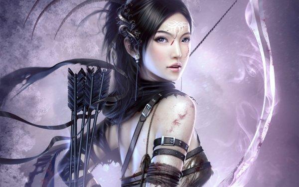 Fantasy Archer Asian Bow Arrow Tattoo Woman Warrior HD Wallpaper | Background Image