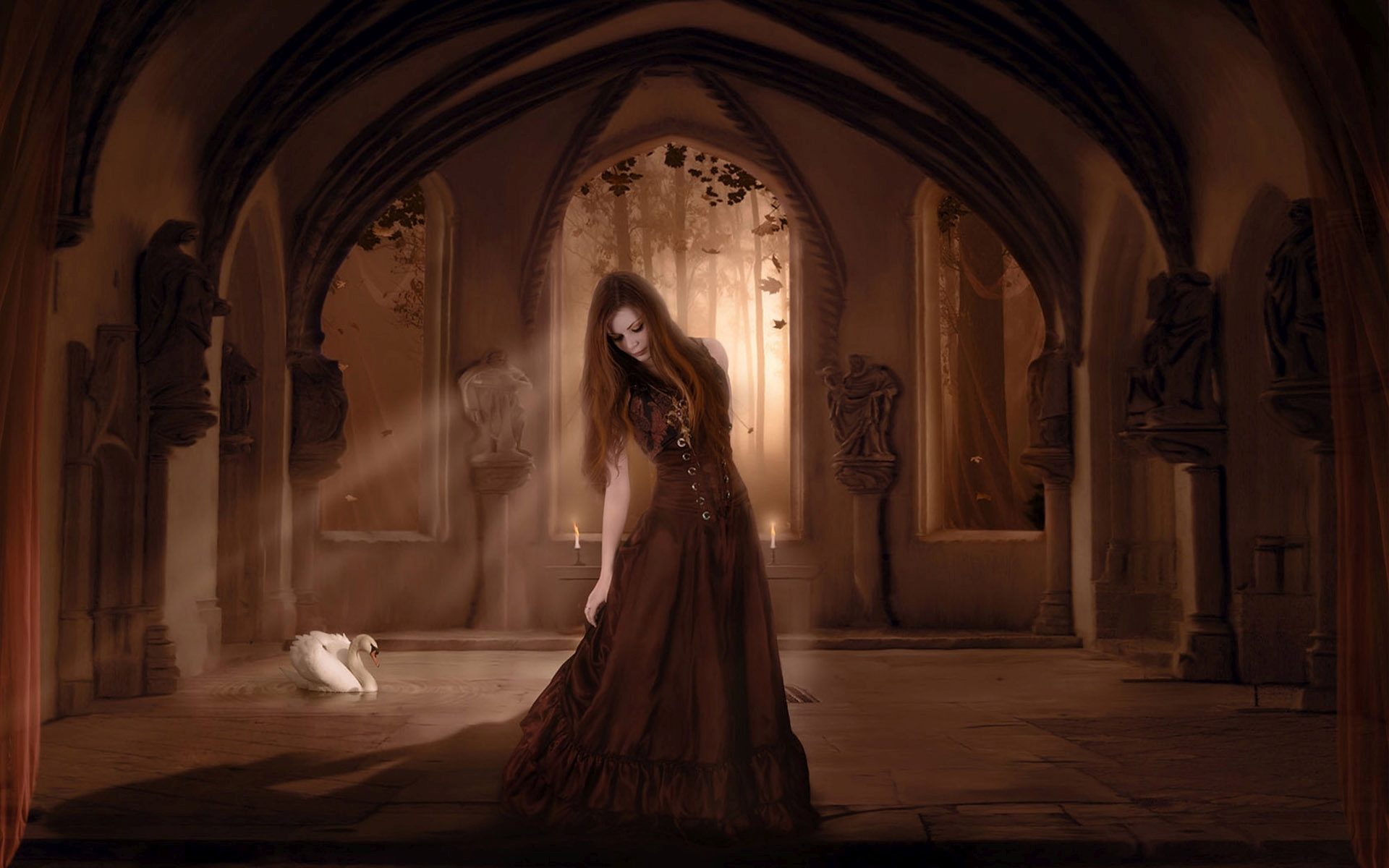 Girl in Gothic Castle HD Wallpaper | Background Image ...