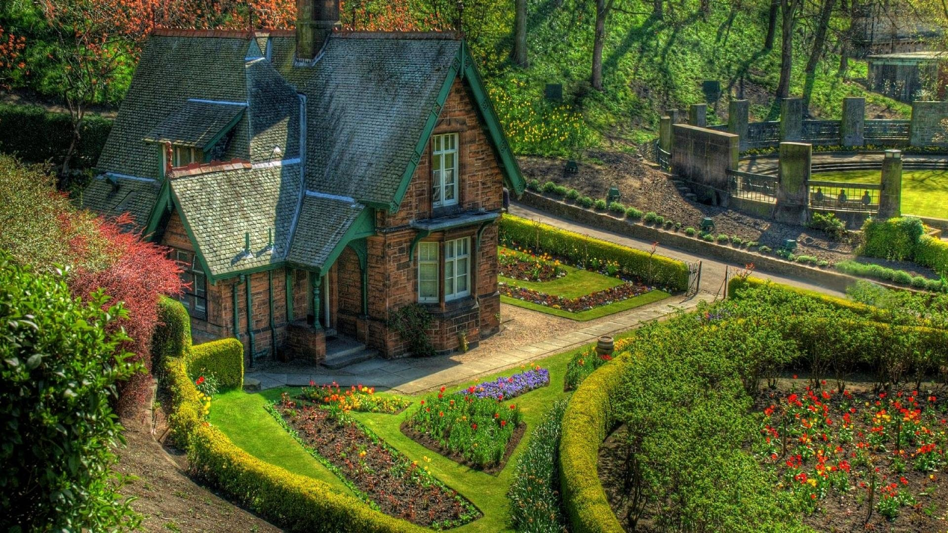 english cottage and garden full hd wallpaper and