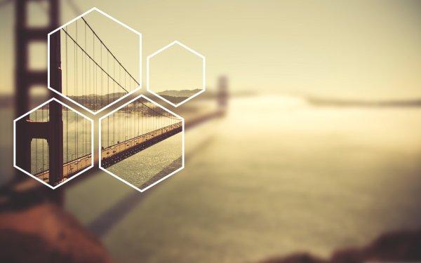 Man Made Golden Gate Bridges Blur Hexagon HD Wallpaper | Background Image