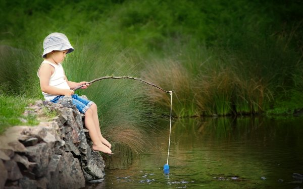 Photography Child River Summer Fishing HD Wallpaper | Background Image