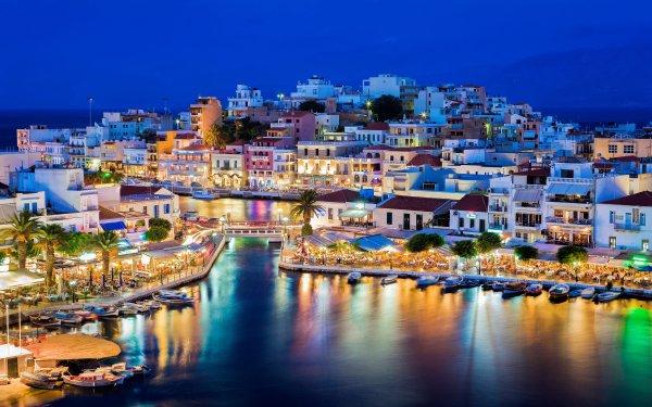 Man Made Village Crete Greece Night Light House Reflection HD Wallpaper | Background Image