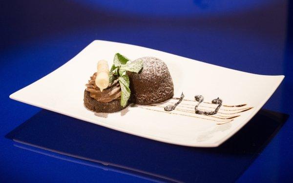 Alimento Postre Dulces Chocolate Tarta Plate Azul Simple Fondo de pantalla HD | Fondo de Escritorio