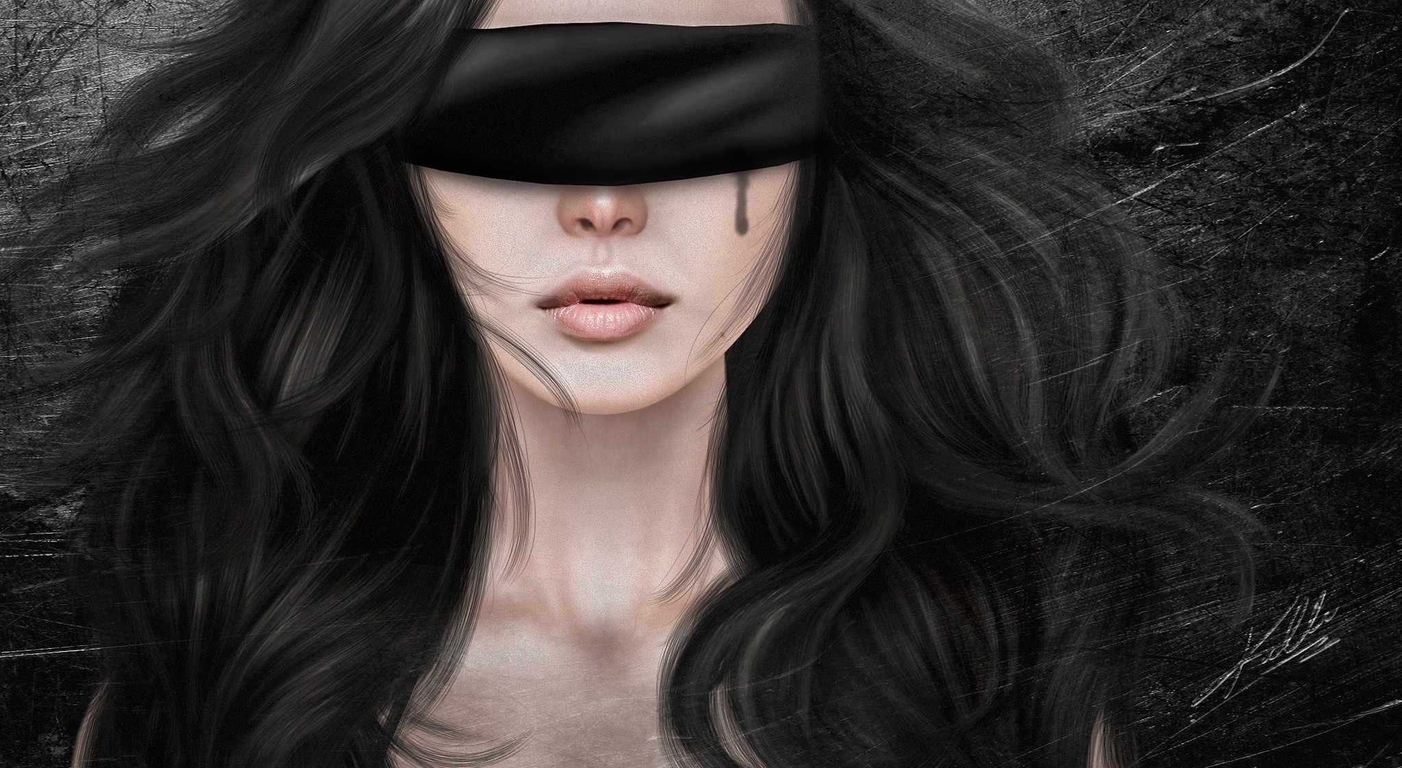 girl with blindfold