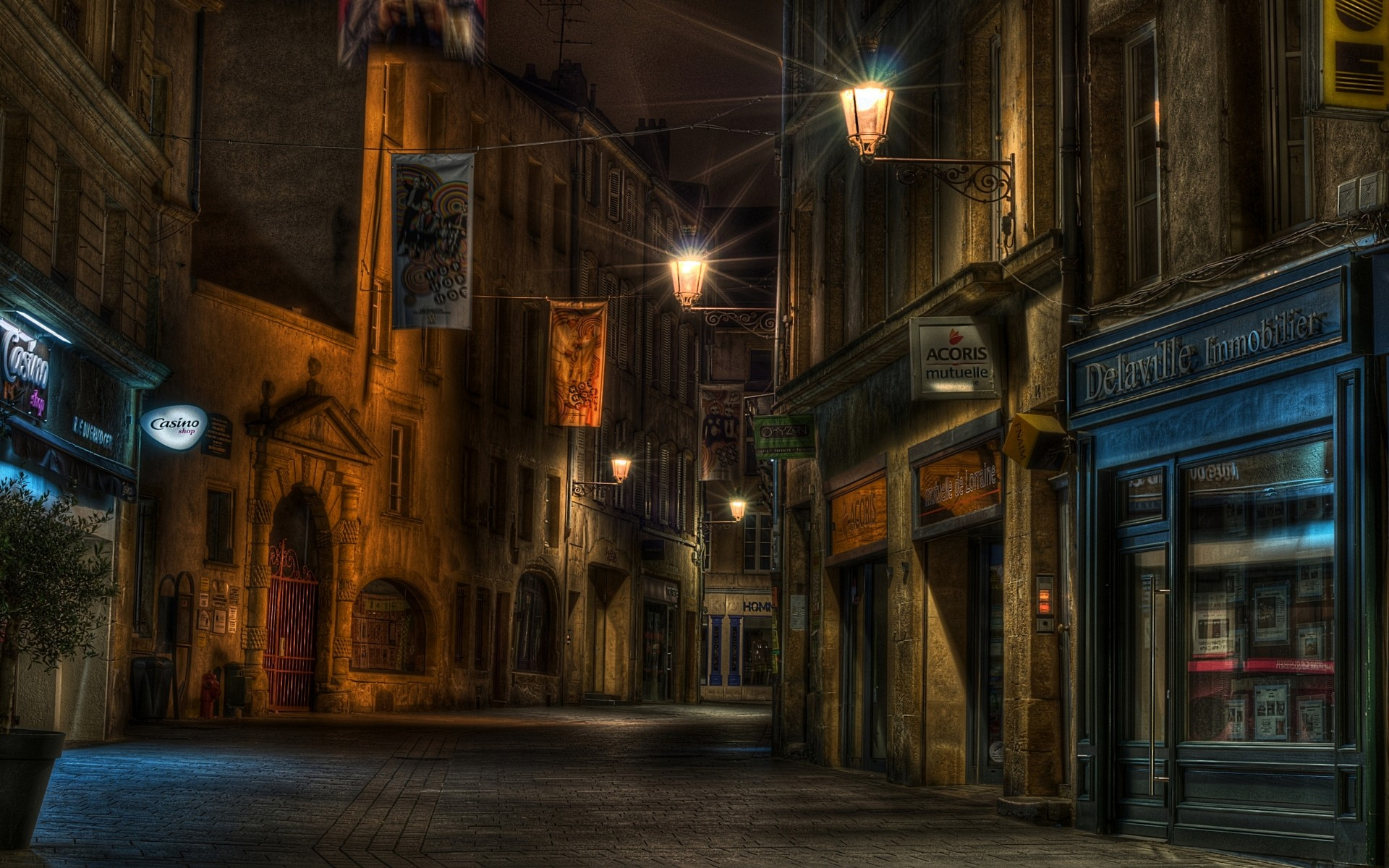 Urban Street at Night HD Wallpaper   Background Image ...