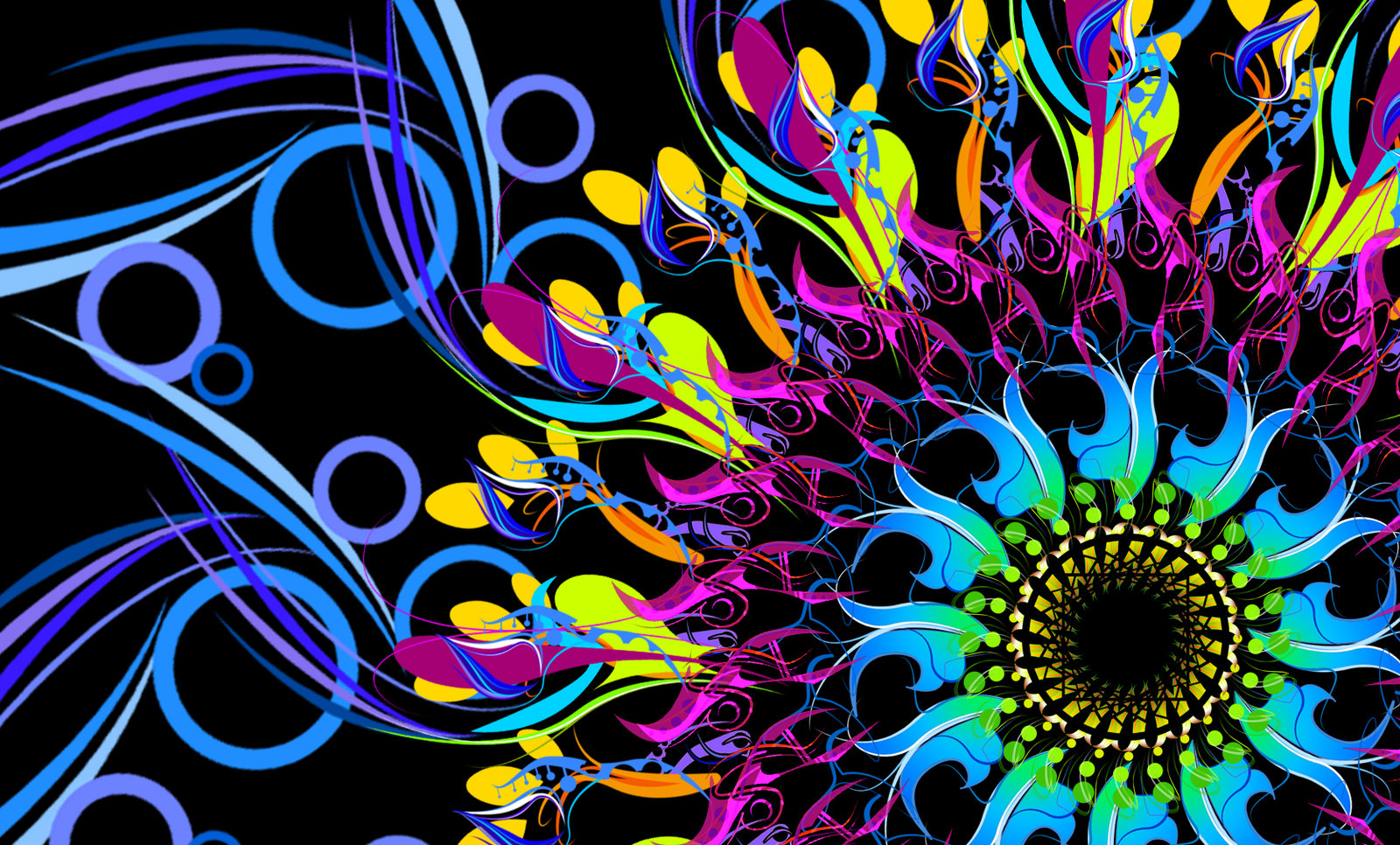 Neon Flower Abstract Wallpaper And Background Image