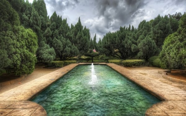 Man Made Pool Parc Garden Tree HDR HD Wallpaper | Background Image