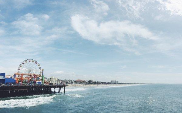Man Made Ferris Wheel Cloud Shore Amusement Park HD Wallpaper | Background Image