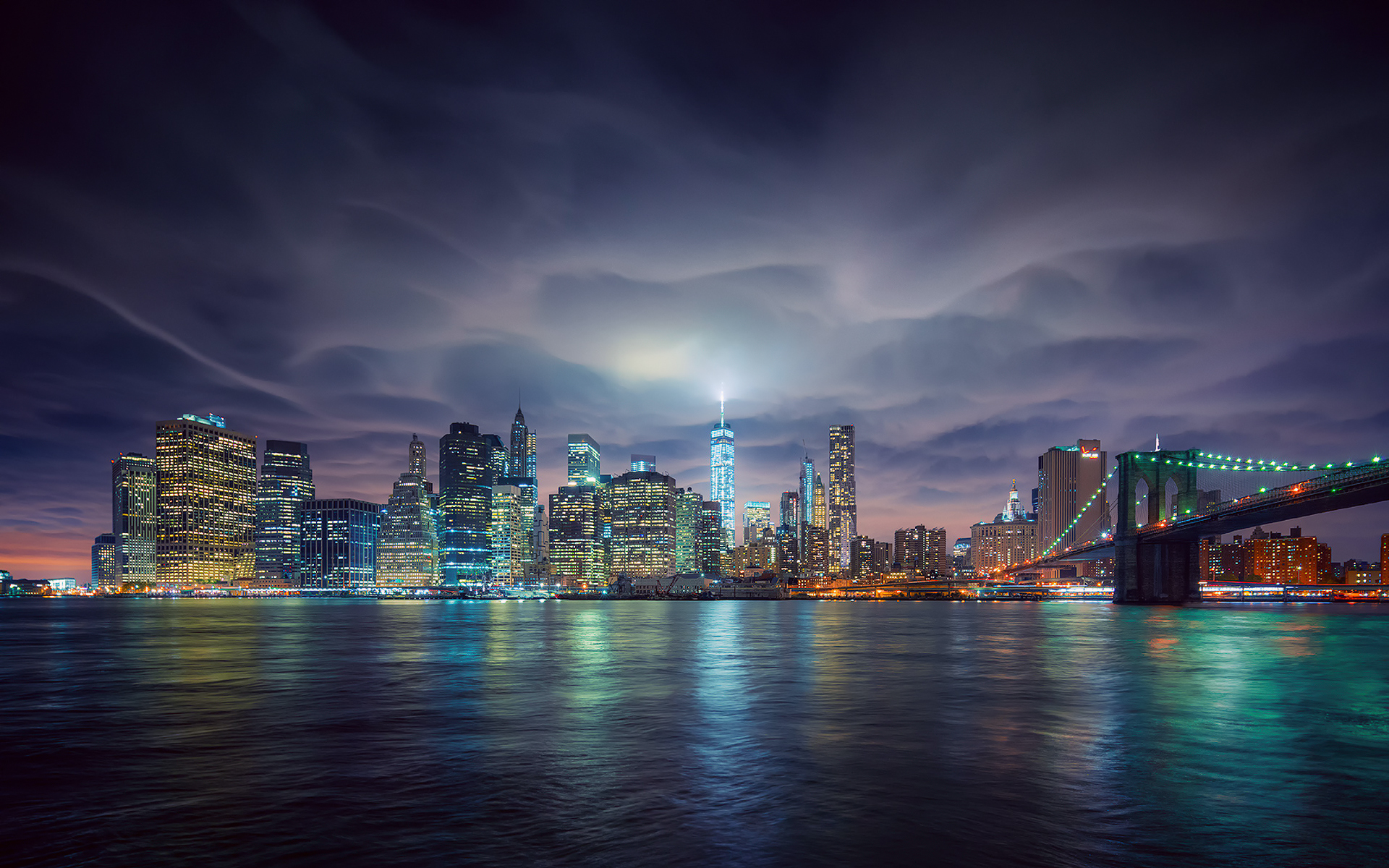 New york city skyline at night hd wallpaper background image 1920x1200 id 695946 - Skyline night wallpaper ...