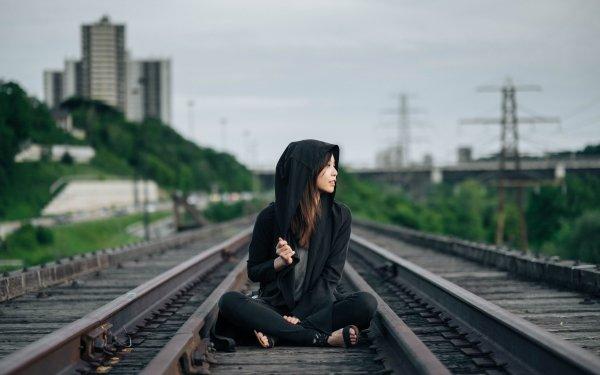 Women Mood Asian Railroad Urban HD Wallpaper | Background Image