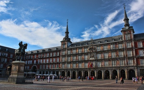 Man Made Building Buildings Square Madrid Spain Statue HD Wallpaper   Background Image