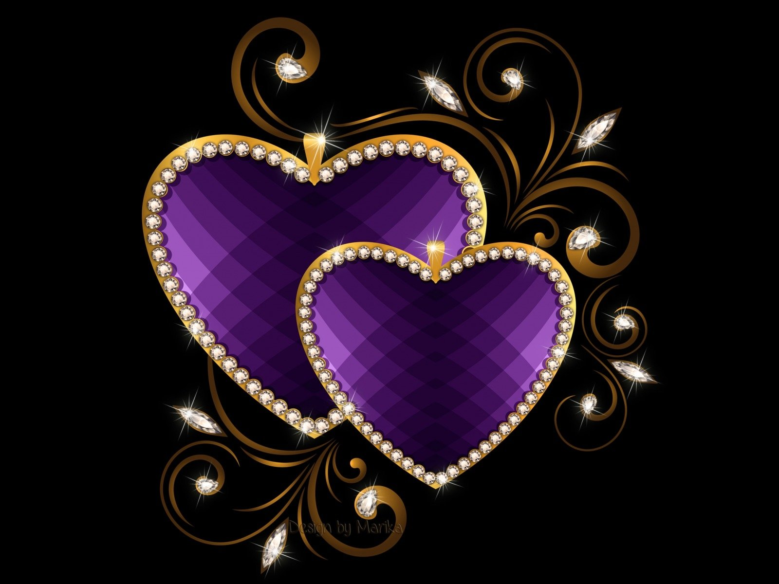 Purple And Black Hearts Wallpaper: Purple Hearts Wallpaper And Background Image