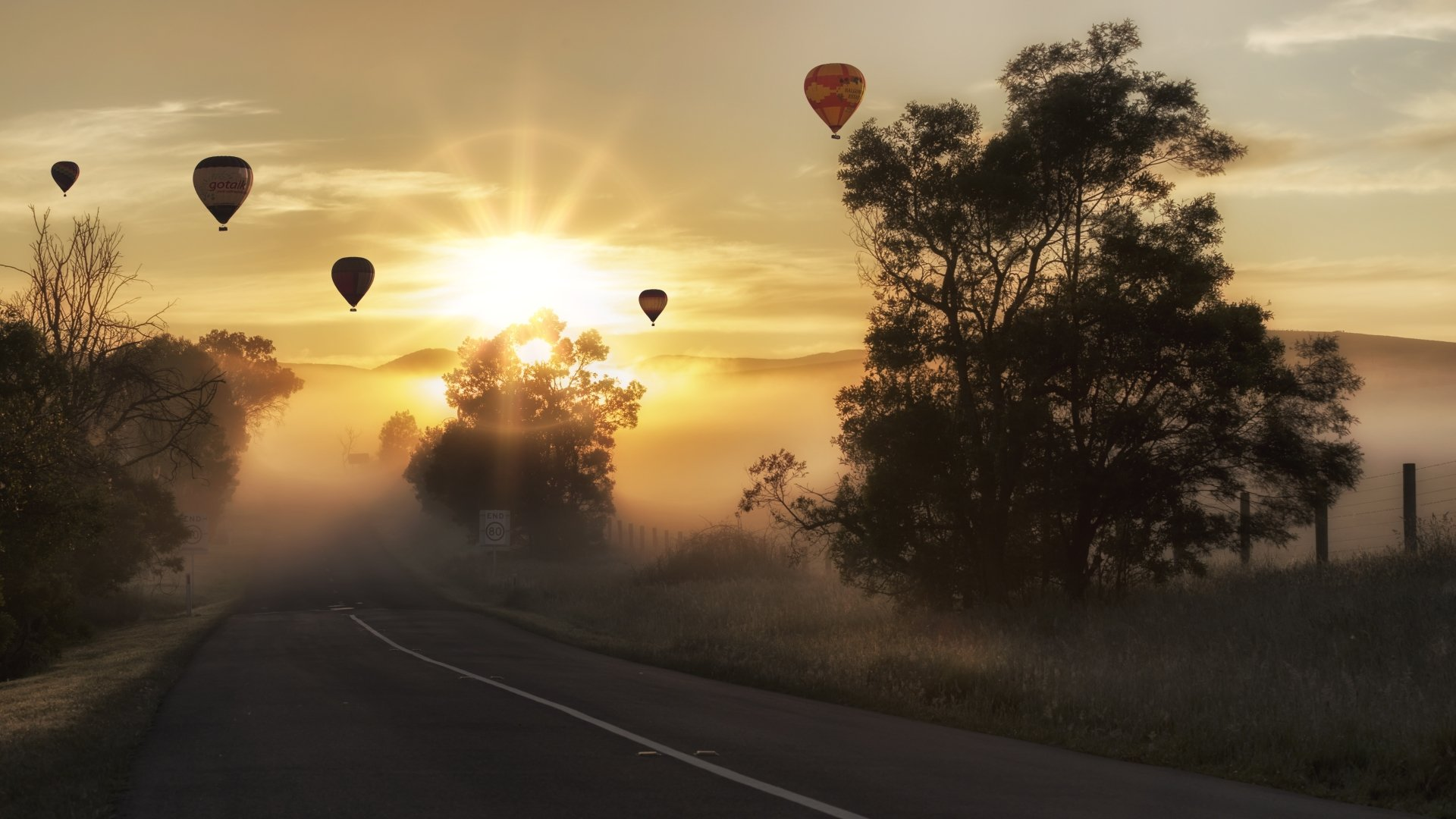 Photography - Sunrise  Hot Air Balloon Road Landscape Tree Sun Sunbeam Fog Vehicle Wallpaper