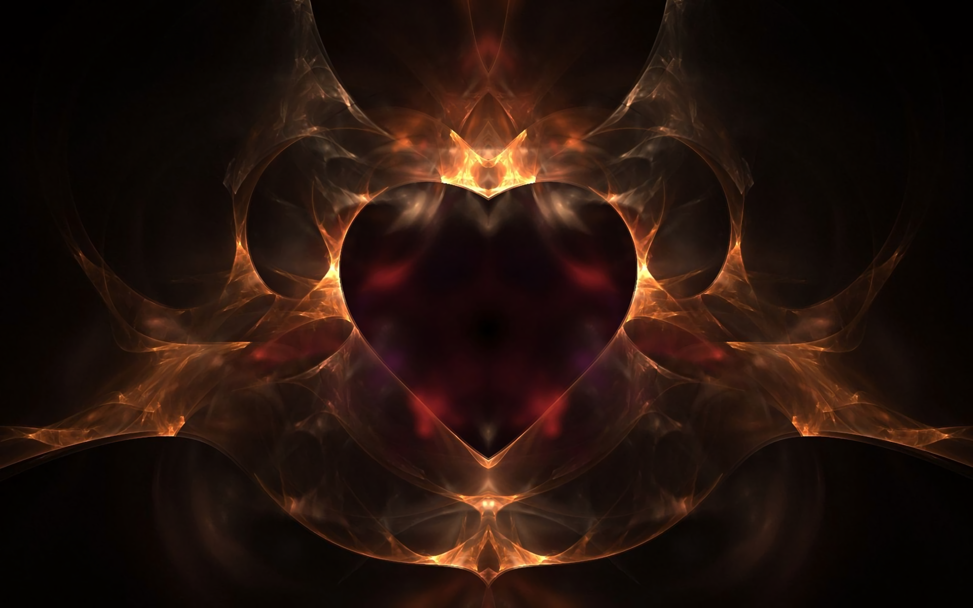 Abstract - Fractal  Abstract Heart Red Gold Digital Art Artistic Wallpaper