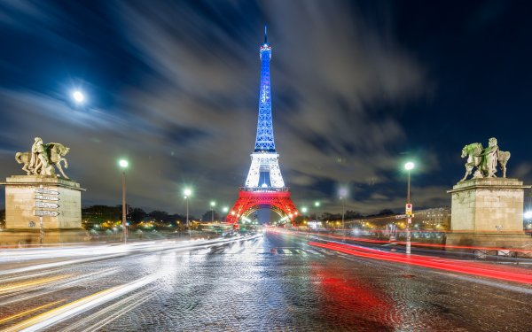 Man Made Eiffel Tower Monuments Night Light Time-Lapse Statue Paris French Flag HD Wallpaper | Background Image