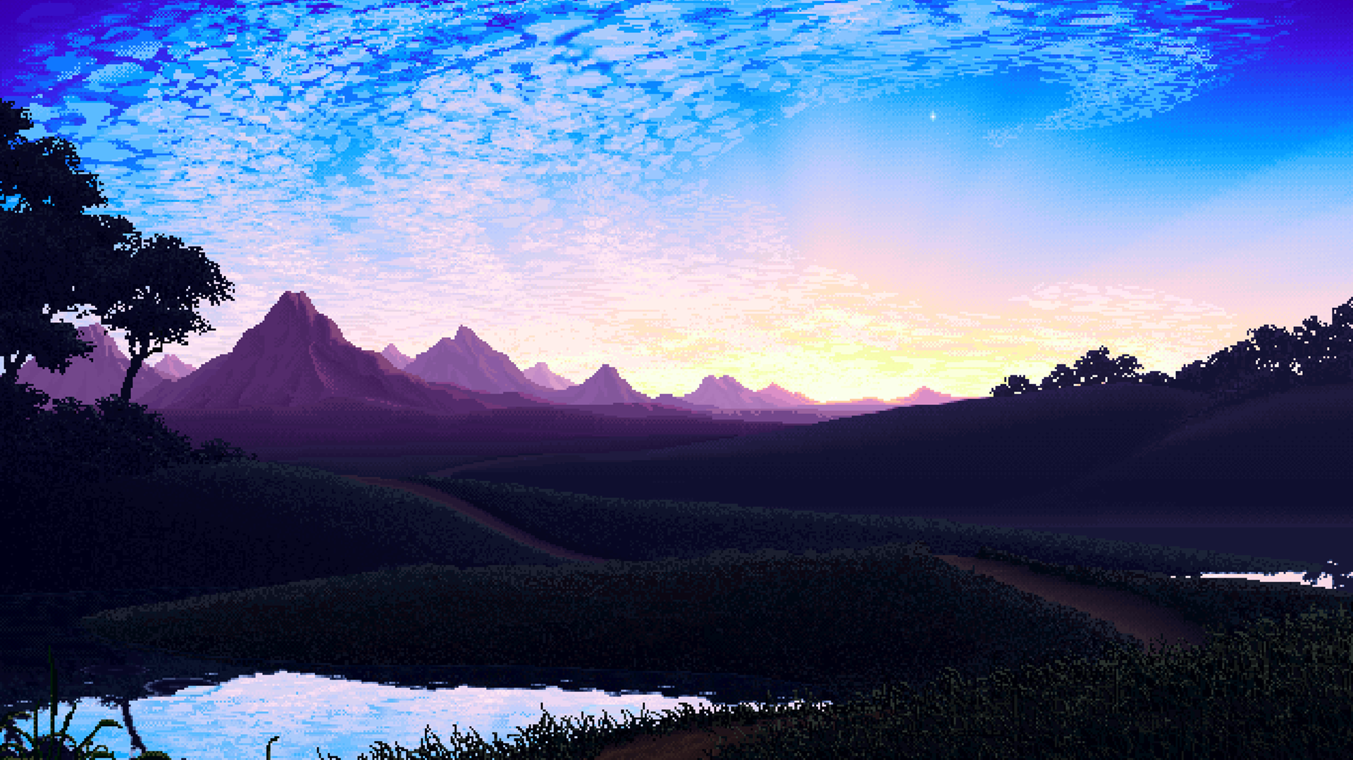 Pixel Landscape Wallpaper and Background Image | 1920x1079 ...