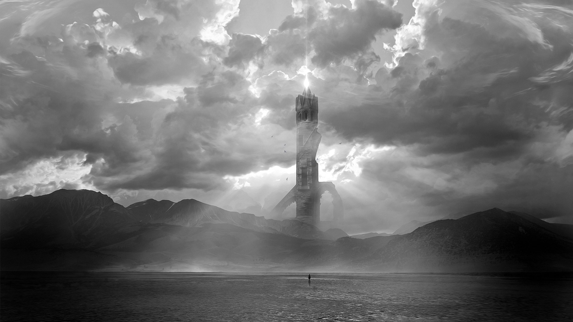 Lonely Tower In Desert Papel De Parede Hd Plano De Fundo
