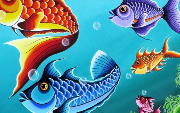 Artistic Painting Fish Colorful Colors HD Wallpaper | Background Image