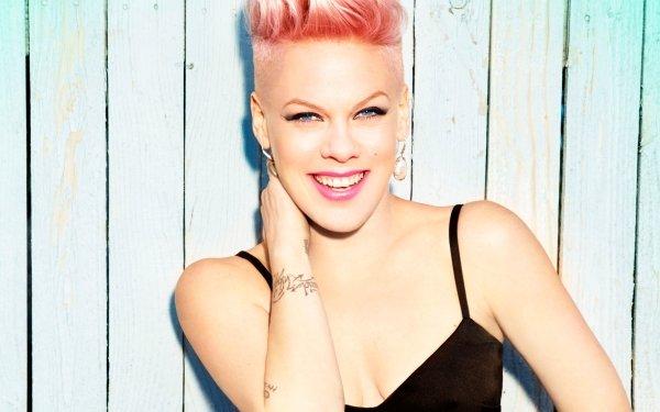 Music Pink Singers United States Pink Hair Smile Singer American Tattoo Blue Eyes HD Wallpaper | Background Image