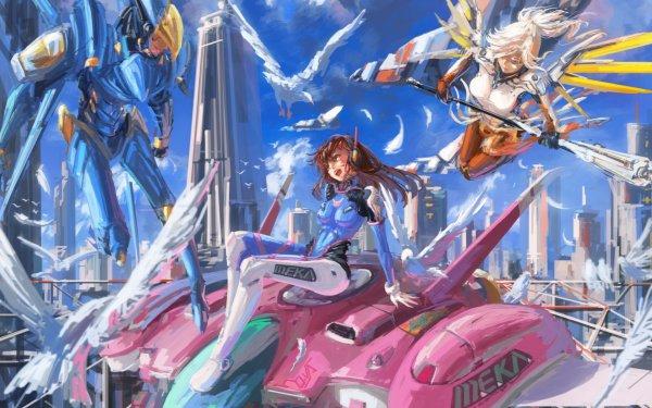 Video Game Overwatch D.Va Mercy Pharah HD Wallpaper | Background Image