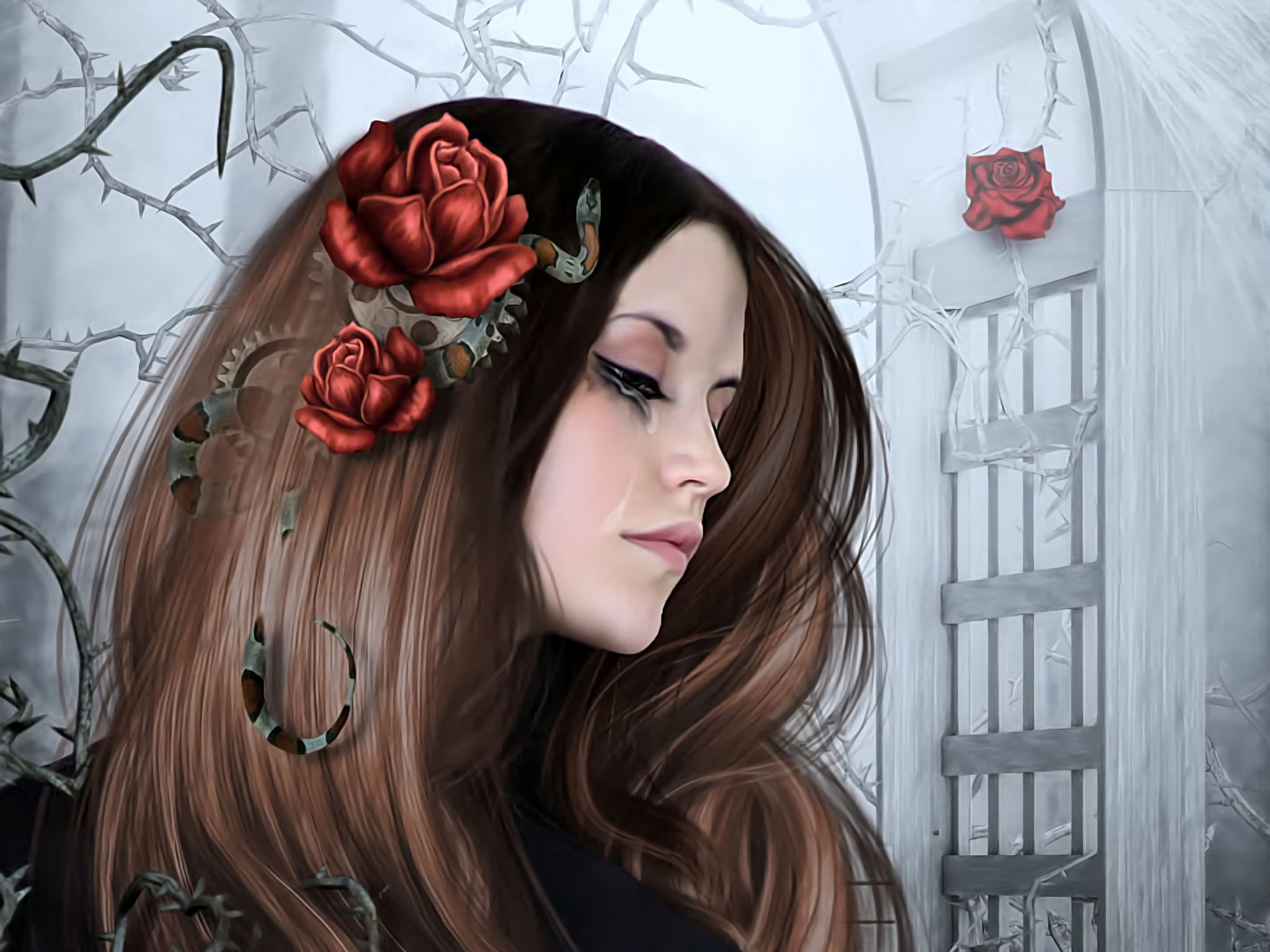 Snakes and roses full hd wallpaper and background image fantasy women tears fantasy woman hair snake rose wallpaper voltagebd