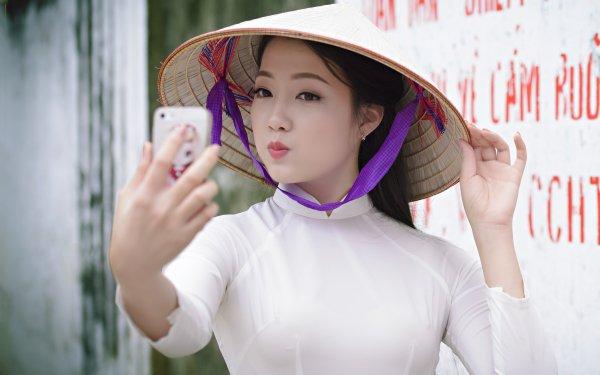 Women Asian Asian Conical Hat Girl Vietnamese Ao Dai Selfie HD Wallpaper | Background Image