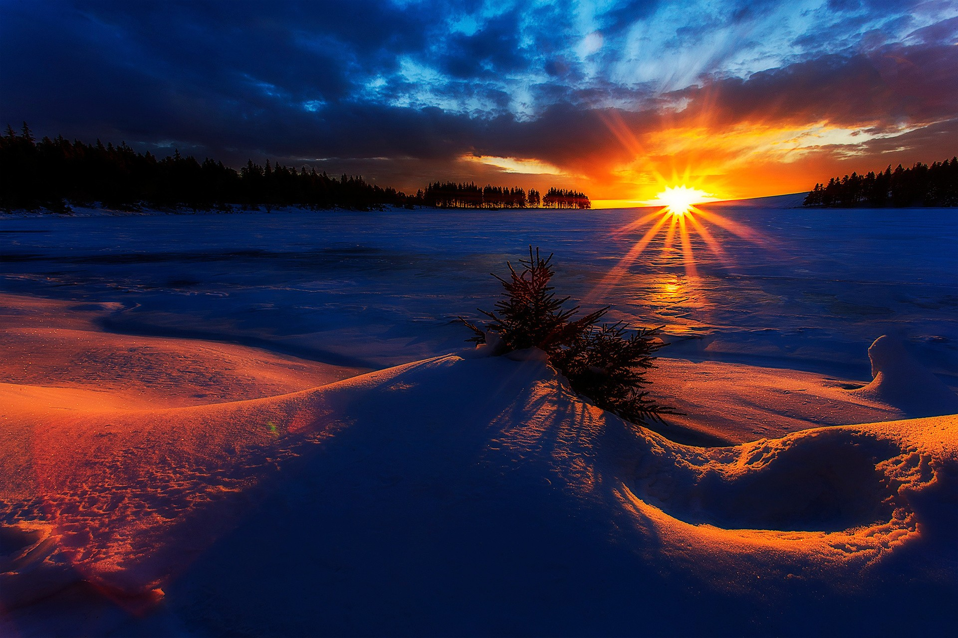 Winter Sunrise Full HD Wallpaper and Background ...