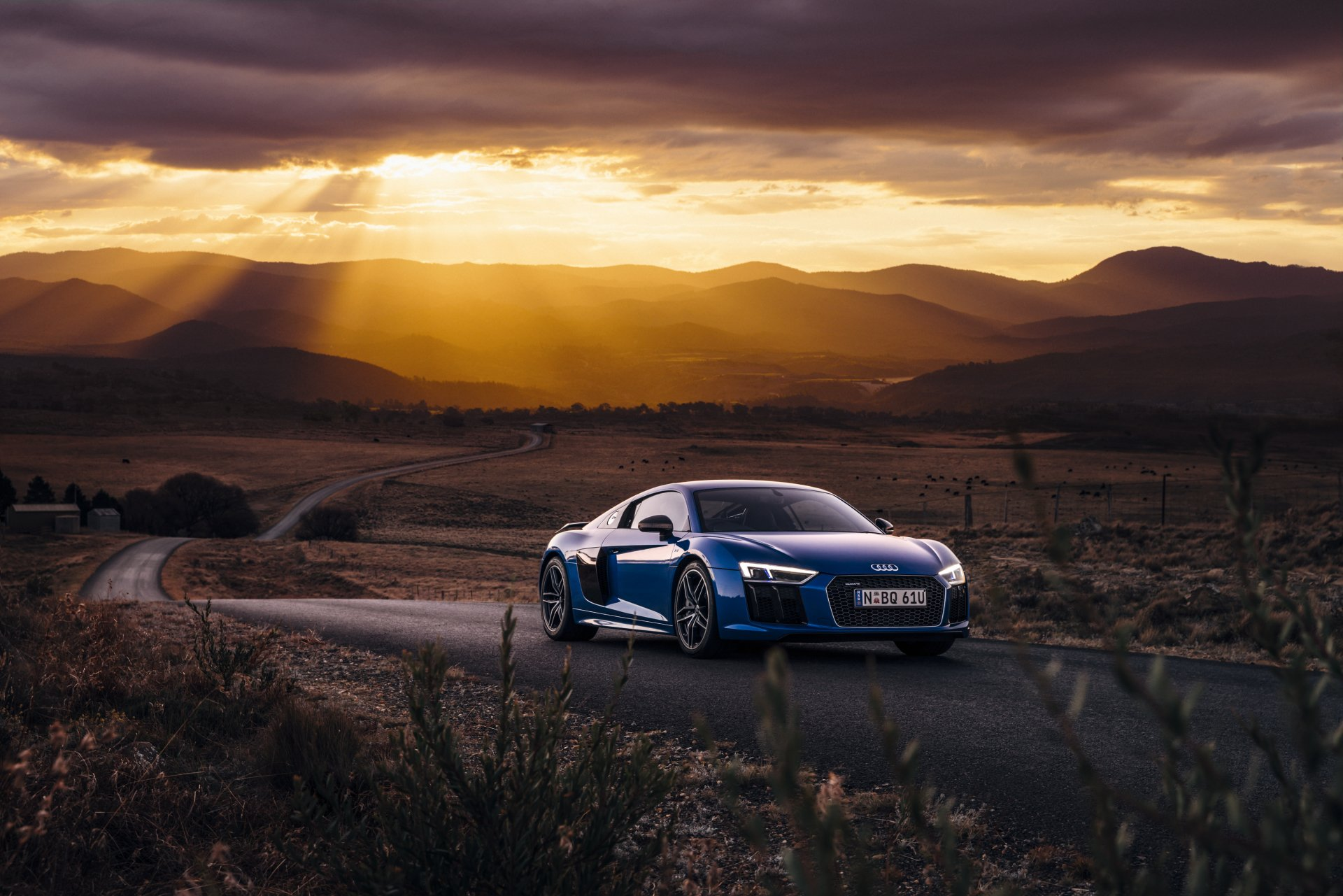 Vehicles - Audi R8  Audi Supercar Sport Car Blue Car Car Vehicle Audi R8 V10 Road Wallpaper