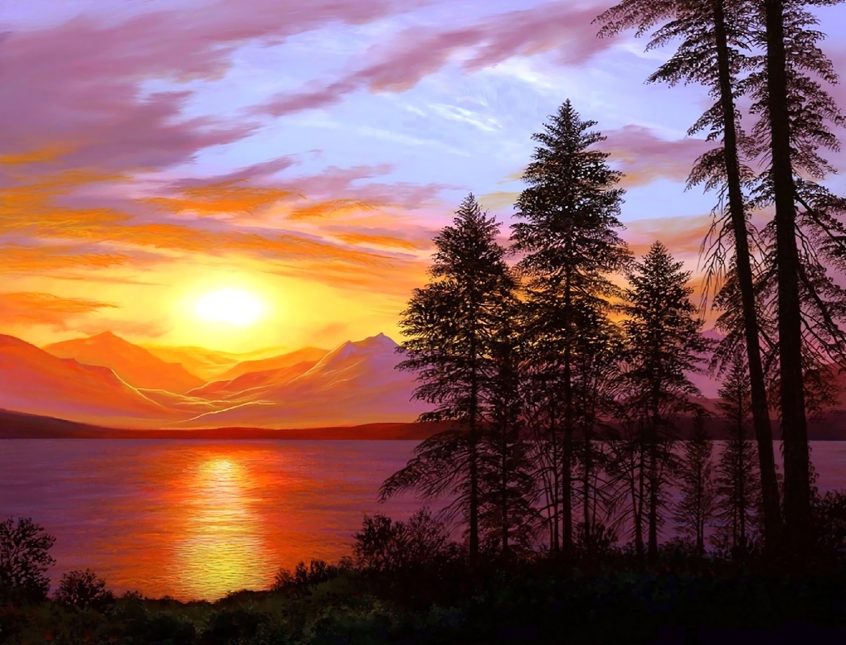 Sunset Over Mountains And Lake Wallpaper And Background Image