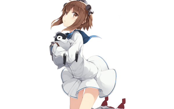 Anime Kantai Collection Yukikaze Short Hair Brown Hair Brown Eyes Penguin School Uniform HD Wallpaper   Background Image