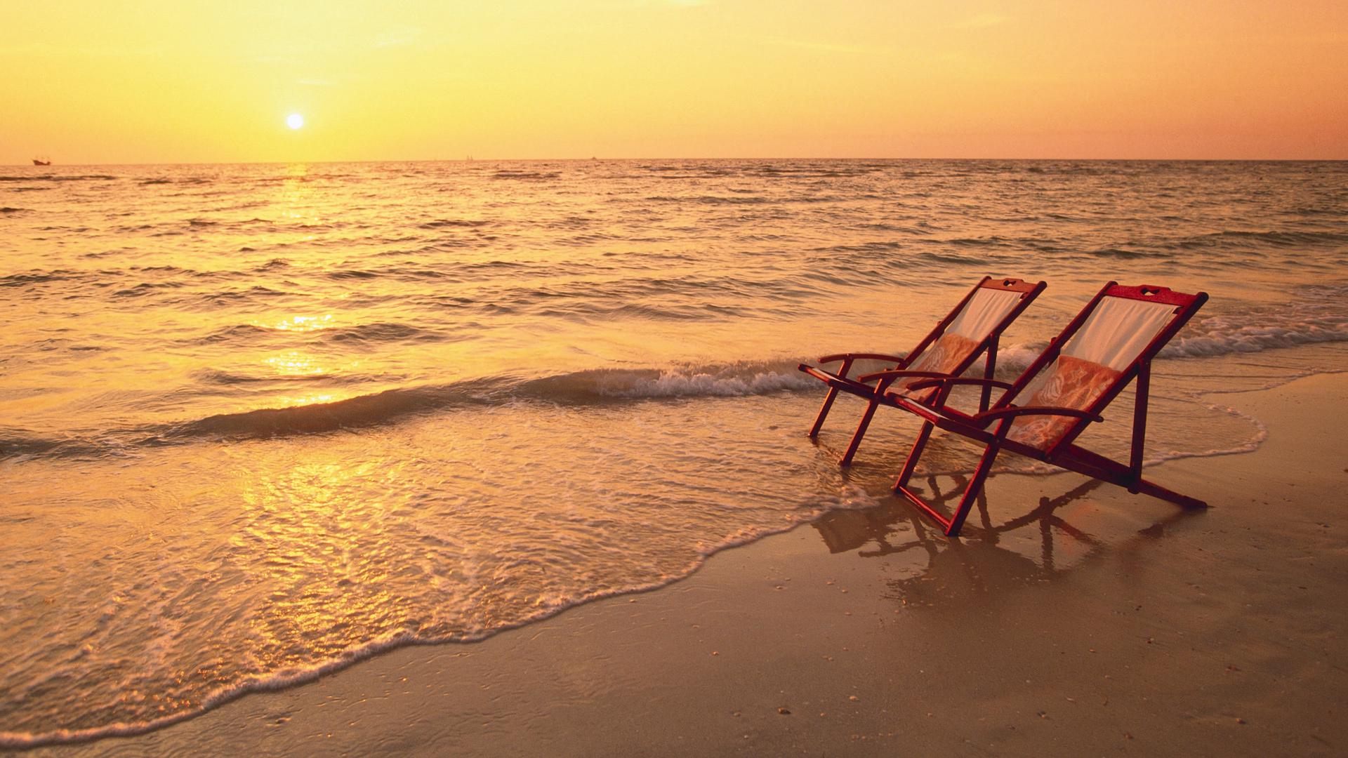 Photography - Sunset  Beach Chair Horizon Earth Ocean Sea Wallpaper