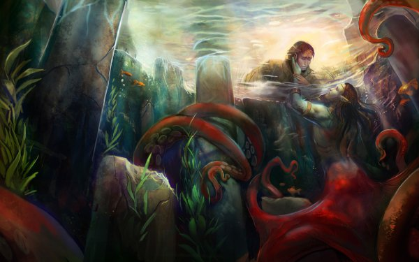 Fantasy Mermaid Tentacle Merman HD Wallpaper | Background Image