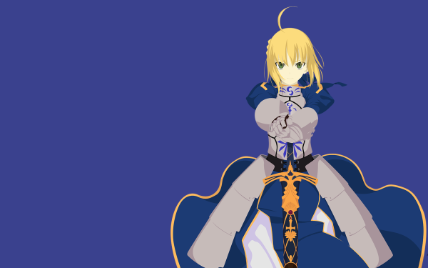Anime Fate/Stay Night Fate Series Saber Minimalist Blonde Armor Dress Blue Dress Smile Green Eyes Sword Weapon HD Wallpaper | Background Image