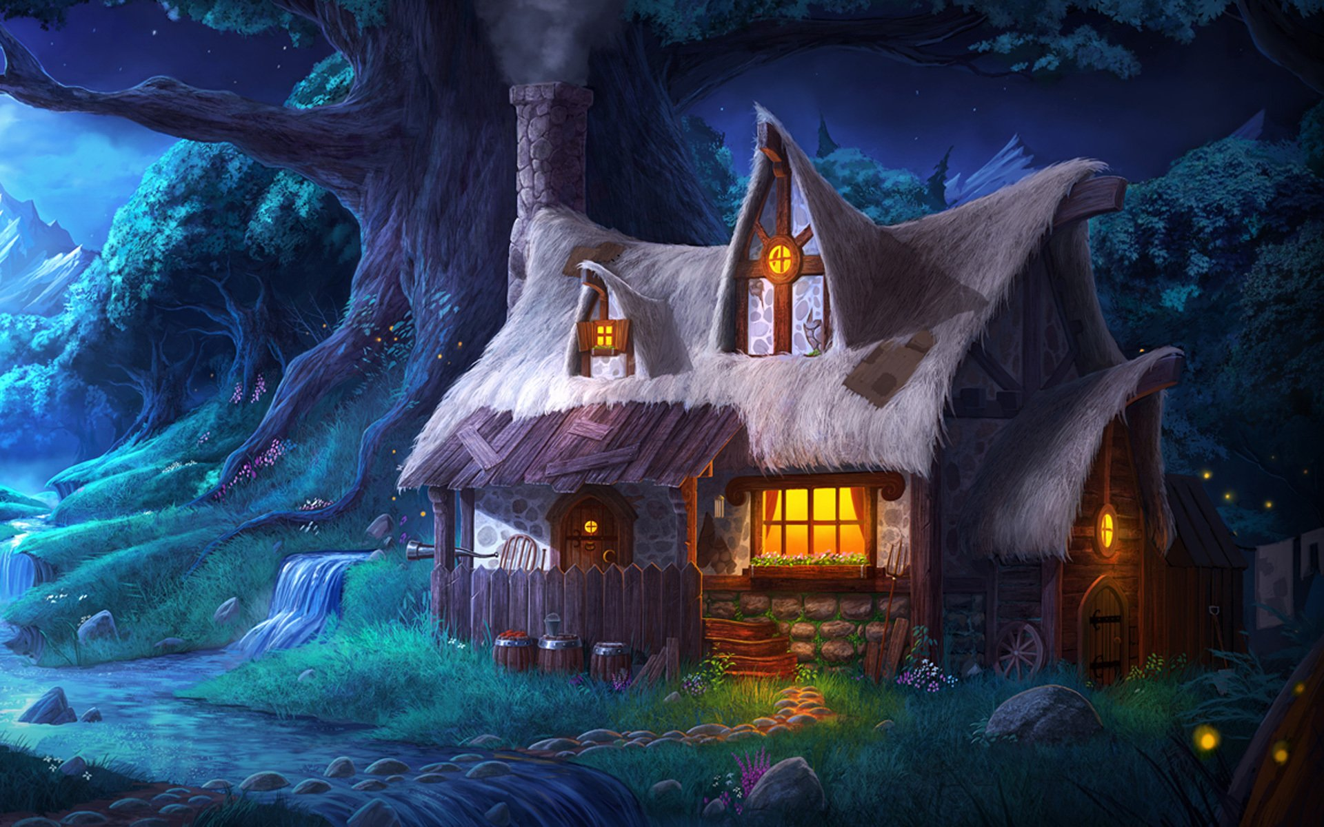 Fantasy house in the forest hd wallpaper background - Fantasy wallpaper pc ...