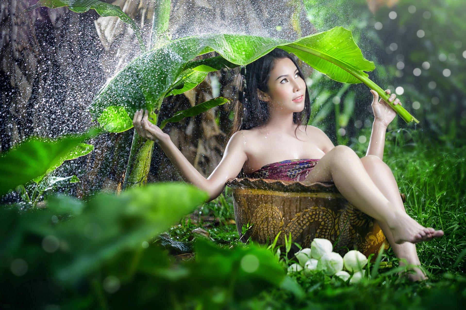 Women - Asian  Woman Model Girl Rain Leaf Outdoor Brunette Wallpaper