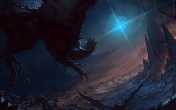 Fantasy Dragon Landscape Mountain HD Wallpaper | Background Image