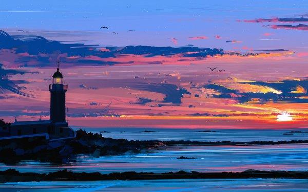 Artistic Painting Lighthouse Sunset Horizon Sky Cloud Ocean HD Wallpaper | Background Image