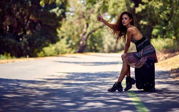 Women Model Models Woman Bokeh Brunette Road Suitcase HD Wallpaper | Background Image