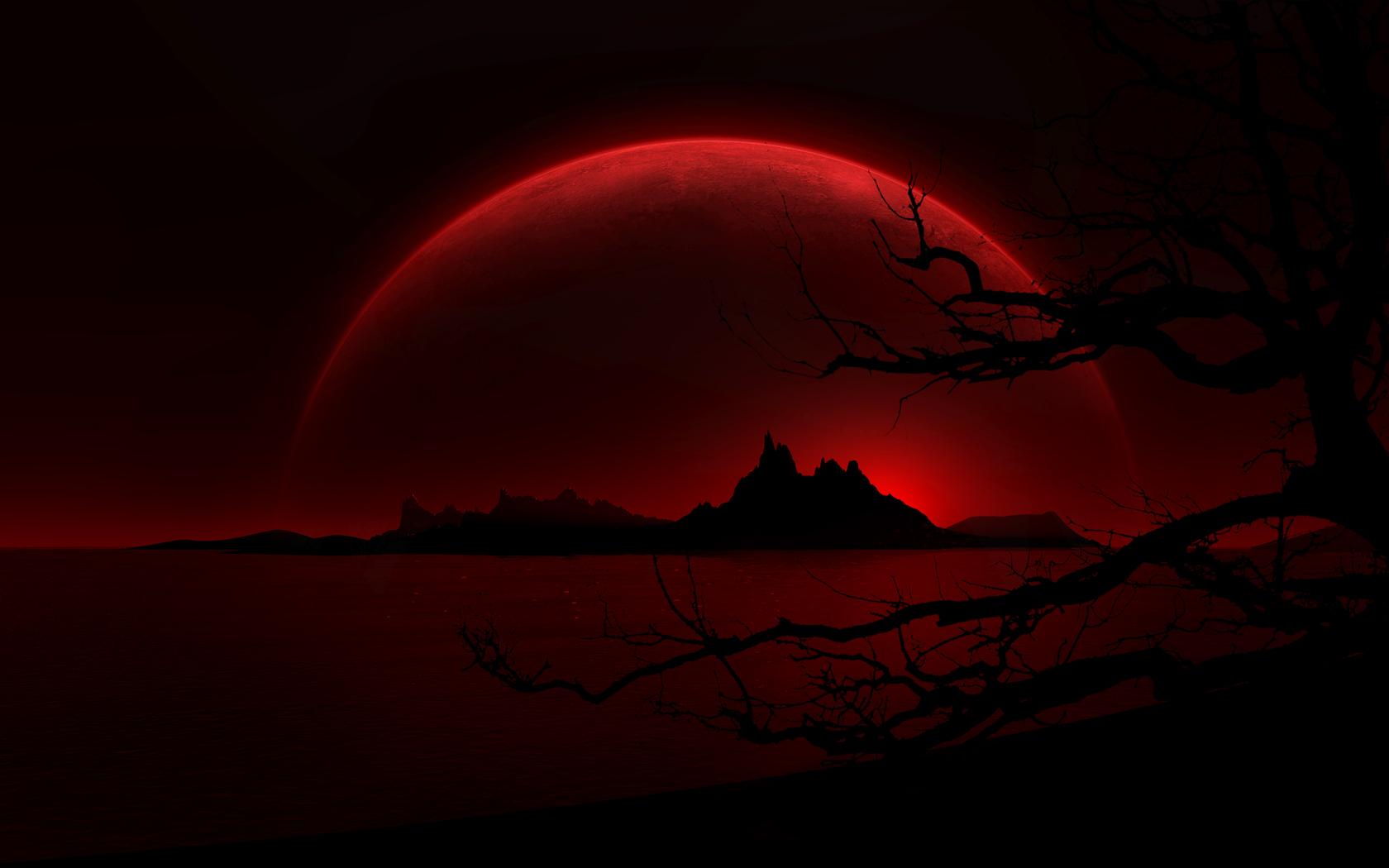 Тьма - пейзаж  Красный месяц Netherworld Louise монстр Обои