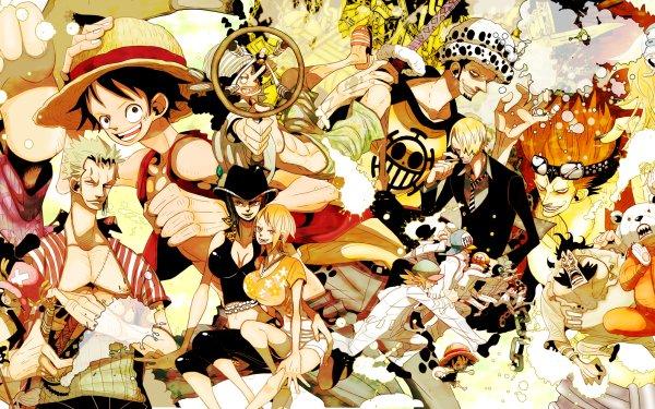 Anime One Piece Monkey D. Luffy Tony Tony Chopper Franky Brook Trafalgar Law Roronoa Zoro Usopp Nico Robin Nami Sanji Eustass Bepo Penguin Girl Boy HD Wallpaper | Background Image