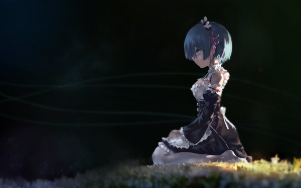 Anime Re:ZERO -Starting Life in Another World- Rem Sitting Blue Hair Blue Eyes Short Hair Headband Maid Dress Black Dress Thigh Highs HD Wallpaper | Background Image
