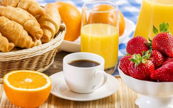 Food Breakfast Croissant Coffee orange Cup Fruit Strawberry Juice HD Wallpaper   Background Image