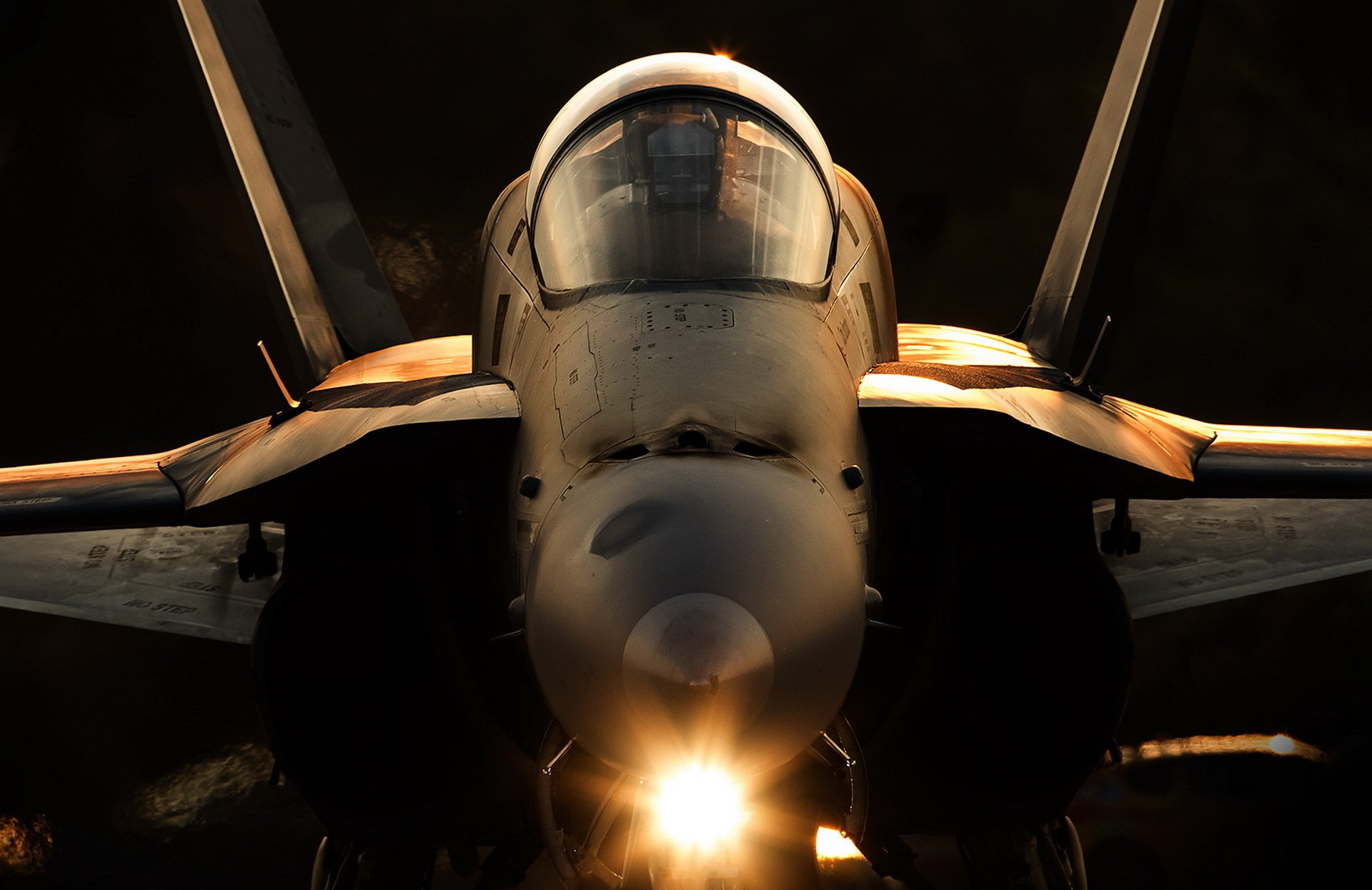 Military - McDonnell Douglas F/A-18 Hornet  Jet Fighter Aircraft Warplane Close-Up Wallpaper