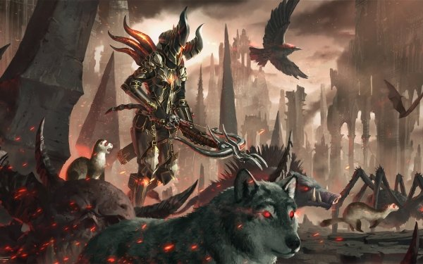 Video Game Diablo III Diablo Demon Hunter Crossbow Armor Wolf HD Wallpaper | Background Image