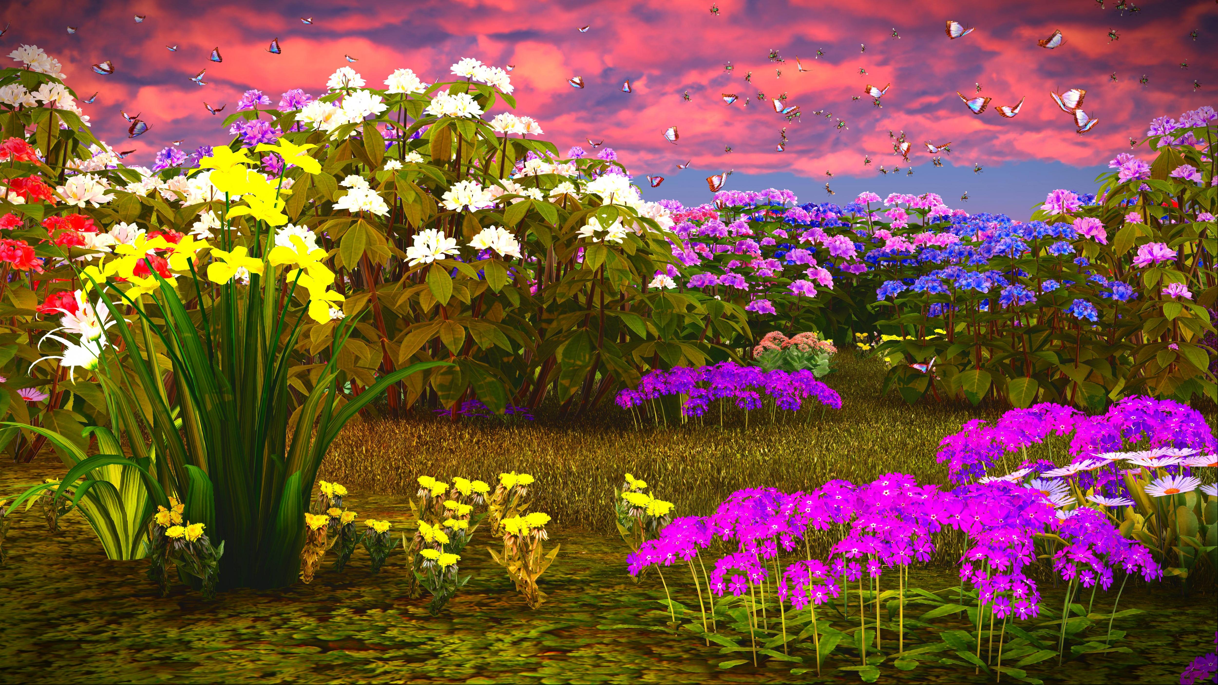 Fantasy meadow 4k ultra hd wallpaper background image - Flower wallpaper 3d pic ...